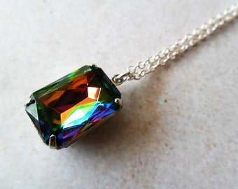Vitrail Glass Jewel Pendant Necklace , vintage inspired, old Hollywood , octagon