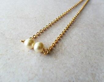 Double Swarovski Cream Pearl Minimalist Necklace on gold chain