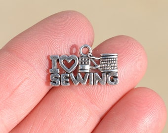 10   Silver I LOVE SEWING Charms SC2444