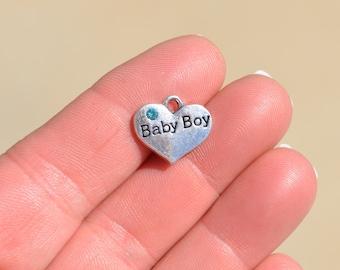 BULK 20  Silver Baby Boy Heart Shape Charms SC2575