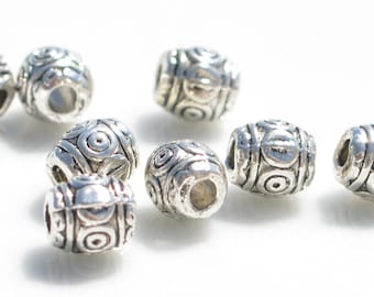 20  Silver 6mm  Decorative Beads BD441