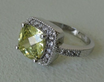 Yellow and Cubic Zirconia Ring