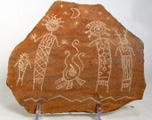 Spirits of the Campfire Hand Carved Rock Petroglyph