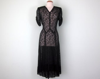 30s black sheer lace deco dress holiday party fancy (m - l)