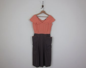 50s coral & grey fitted cotton wide collar pockets dress (s - m)