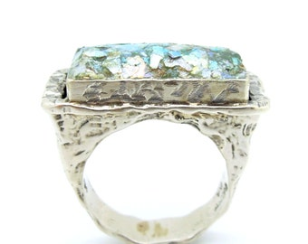 Silver ring for men with roman glass