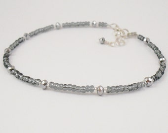 Beaded Ankle Bracelet - Petite Grey and Metallic Silver Glass Anklet