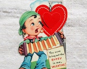 vintage Valentine's Day card, gypsy valentine with opening heart