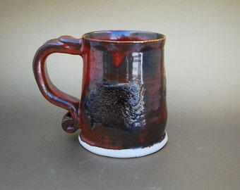 Large Coffee Cup, 12 Ounce, Hot Chocolate Mug, Handmade  Pottery Cup, Ceramic Mug,  Smooth Rust Red With Textured Dark Brown Color