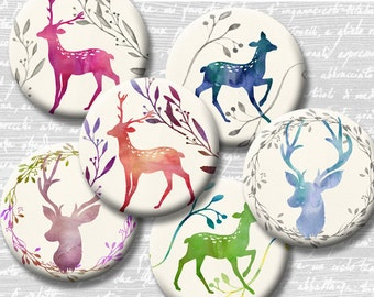 Watercolor Deer Digital Collage Sheet 18mm 16mm 14mm 12mm Circle Round on 4x6 and 8.5x11 Sheets for Earrings Pendants Cuff Link Image