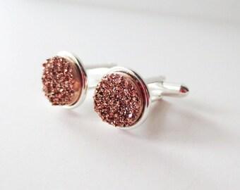 Rose gold druzy cuff links.  Titanium druzy.  Copper druzy.  Rose gold cuff links.  Druzy accessory.  Bezel cuff links for French cuff shirt
