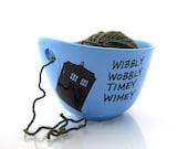 Doctor Who Yarn Bowl, Tardis, wibbly wobbly timey wimey