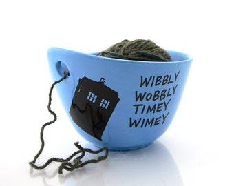 Doctor Who Yarn Bowl, Tardis, wibbly wobbly timey wimey