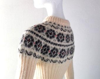 Vintage Beconta Foldal Fair Isle Sweater - Rare 1970s Norwegian Hand Knit - size XS Small - Winter Ski Chic