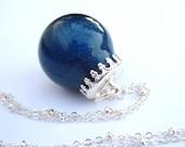 BLACK Friday CYBER Monday CbL Addicts Blue Me Away Holo Globe Nail Polish Pendant Necklace - Nail Polish Jewelry