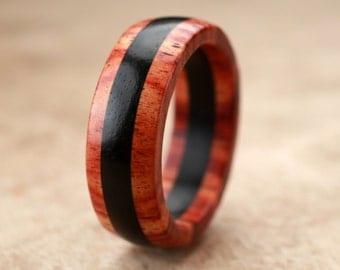 Custom Tulipwood Ebony Ring - 7mm