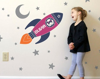 Rocket Girl Wall Decal: Outer Space Girl Name Personalized Baby Space Nursery