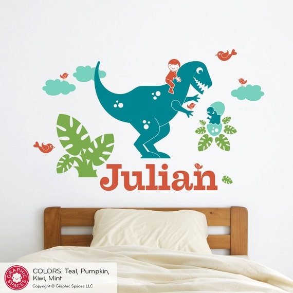 T Rex Dinosaur Wall Decal Boy Personalized Name Dinosaur