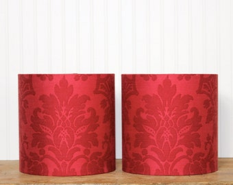 Lamp Shade Lampshade Drum Vintage French Red Damask