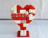 Lego Knick Knack Decoration Geekery Novelty Tchotchke Red White Lego Heart Business Card Holder Cake Topper
