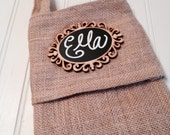 Personalized Burlap Christmas Stocking with BLANK Chalkboard Name Tag, Rustic Christmas