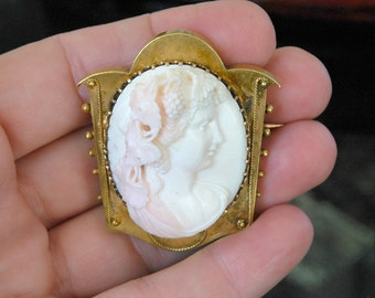 Exquisite c.1870 Angel Skin Cameo, 10kt Gold, Masterful Undercut Carved Coral, Ultra High Relief Depicting Bacchante, Excellent Condition