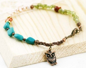 Cohesive anklet - peridot, red jasper, turquoise and freshwater pearls