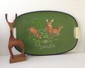Ozarks Souvenir Tray, Green Deer Theme Tray