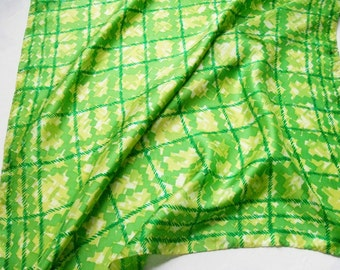Silk Scarf Abstract Plaid Lime Green