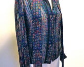 Reserved              Vintage Delicate Glowing Stained Glass Window Silk Blouse From the 80's by Lillie Rubin 6 Semi Sheer