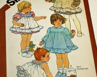 Vintage 1980s, Sewing Pattern, Simplicity 5777, Toddler's Dress, Pinafore and Panties, Toddler's Size 2