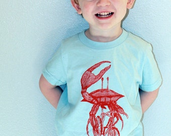 Kids Crab on a Bicycle T-Shirt - Cotton Tee - Hand Screen Printed