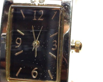Vintage Lady's Allude  Wrist Watch,  Gold Plated and  Black Onyx Face and Cz Crystals Accents  Excellent Working Contition  On Clearance Now