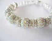 Rhinestone Beaded Bracelet AB Silver Longer Length Magnetic Clasp Handmade