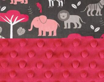 Minky Baby Blanket Girl, Pink Gray Zoo Animal Personalized Baby Blanket