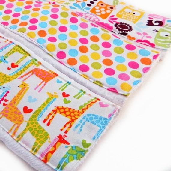 Girl Burp Cloths -Pink Green Giraffe Owls Dots - Set of 3  // Diaper Burp Cloth // Cotton Burp Cloth // Baby Shower Gift // Owl Burp Cloths