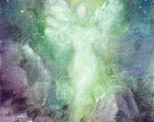 Angel Art Print Framed and Signed, Angel Journey, Spiritual Healing Art From The Original Oil Painting by Marina Petro