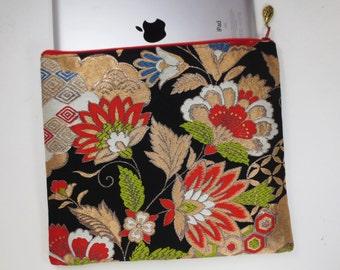iPad Case Upcycled From Vintage Obi - Flower Arabesque
