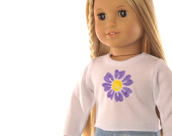 "white T shirt, American Girl 18"" doll clothes, long sleeves, purple yellow flower, casual wear, modern, hand painted, PattiKuz"