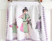 Vintage Apron Dress Seamstress Sewing Machine GREAT Graphics