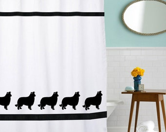 Border Collie Dog Shower Curtain in Your Choice of Colors - our original.... Valance and towels available too