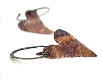 Hammered Copper Heart Earrings Mixed Metal Patina Open Hoop