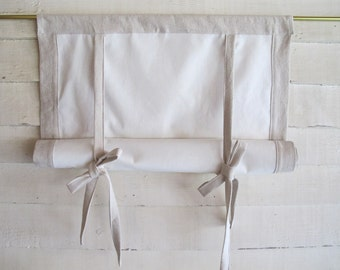 """Cotton Canvas 48"""" Long Swedish Roll Up Shade Stage Coach Blind Tie Up Curtain Swag Balloon"""