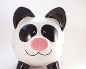 Panda Piggy Bank - Personalized Piggy Bank - Panda Bear Bank - Ceramic Bear Bank - with hole or NO hole in bottom