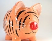 Tiger Piggy Bank - Personalized Tiger Bank - Jungle Piggy Bank - Jungle Theme Bank - Safari Theme Bank - with hole or NO hole in bottom