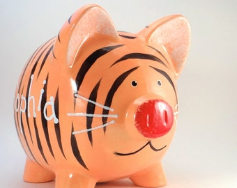 Tiger Piggy Bank - Personalized Tiger Bank - Jungle Piggy Bank - Baby Shower Gift - Safari Theme Bank - with hole or NO hole in bottom