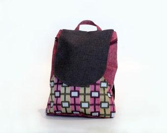 pink backpack bag - backpack canvas backpack laptop backpack pattern  - backpack women - laptop bag women backpack