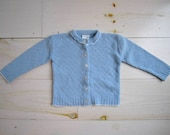 Vintage Baby Girls Cardigan Sweater . Light Blue . Size 24 Months