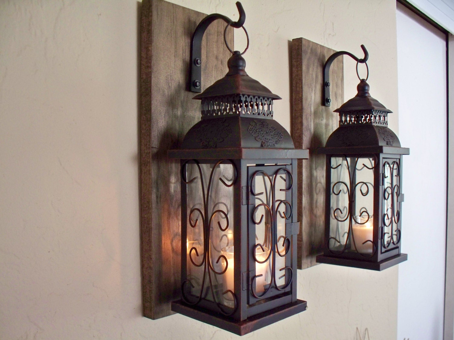 Lantern pair wall decor 2 wall sconces housewarming gift - Plaque decorative murale ...