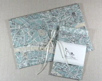 Lingerie Bag, Shoe Bags, Travel Gift Set, Paris, Map fabric, Duck Egg Blue, Wedding, Bride